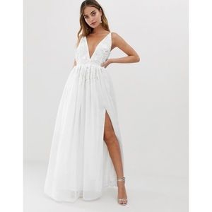 ASOS Dolly & Delicious Petite white maxi dress